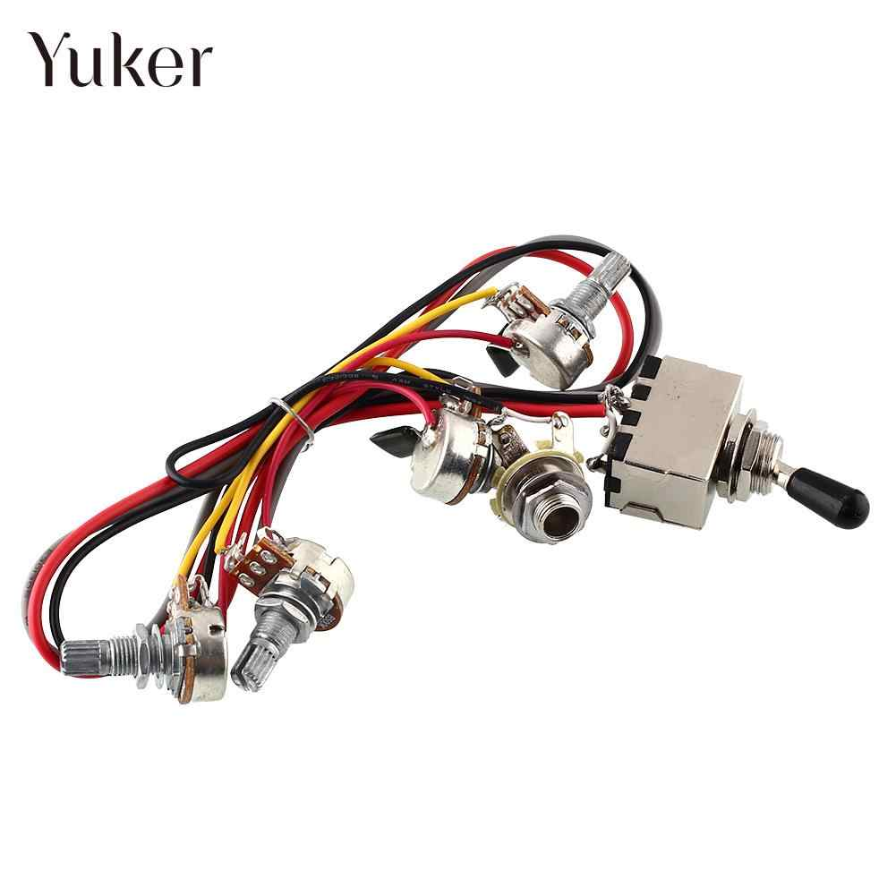 yuker guitar wiring harness 2v 2t 3 way pickups toggle switch 500k pots for guitar [ 1001 x 1001 Pixel ]