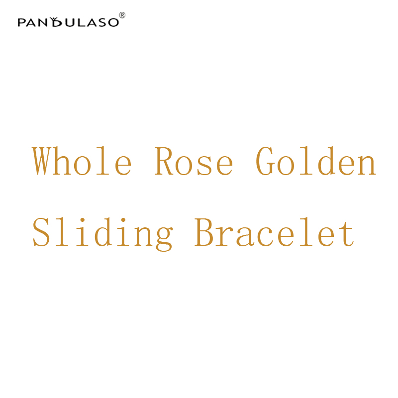 Pandulaso Rose Golden Sliding Bracelets for Women Fashion DIY Jewelry Snake Chain Charms Bracelets New Silver 925 Jewelry Gifts 4 style 925 basic snake chain bracelets round flower love heart pink color buckle bracelets for women diy charms jewelry