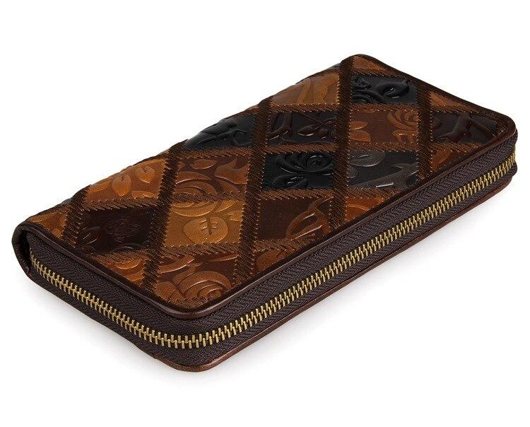 94c2604da Moda señora bolso de embrague elegante tarjeta de crédito titular de lujo  retro patrón largo monedero para mujer de cuero real