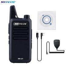 Mini Walkie Talkie NKTECH NK-U1 VS WLN KD-C1 UHF 400-470MHz 5W 16 Channels Handheld Ham Transceiver Two-way Radio +Cable+mic