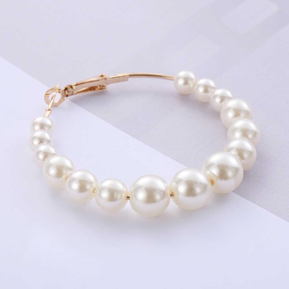 Wanita Elegan Putih Mutiara Round Anting Anting-Anting Gadis Pesta Ulang Tahun Besar Pearl Lingkaran Bulat Anting-Anting Pernikahan Pertunangan Perhiasan
