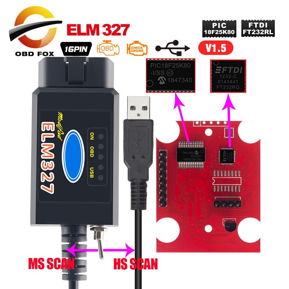 2019 Original Elm327 Usb Ftdi Mit Schalter Code Scanner Hs KÖnnen Und Ms KÖnnen Super Mini Elm327 Obd2 V1.5 Bluetooth Ulme 327 Wifi