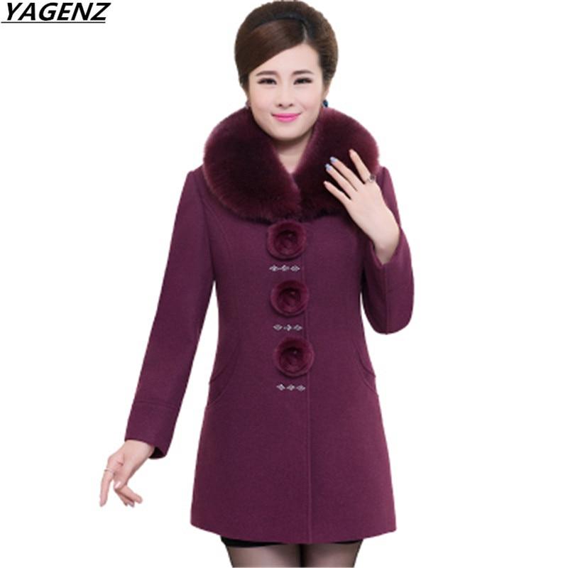 Women Jacket 2017Autumn Winter Woolen Jacket Middle aged Mother Clothing Fashion Fur Collar Woolen Coat Plus