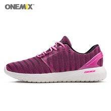 ONEMIX Женская прогулочная обувь летние Бег кроссовки женские свет для уличной пробежки, для фитнеса Для девочек мягкий дезодорант стельки белого и фиолетового цветов