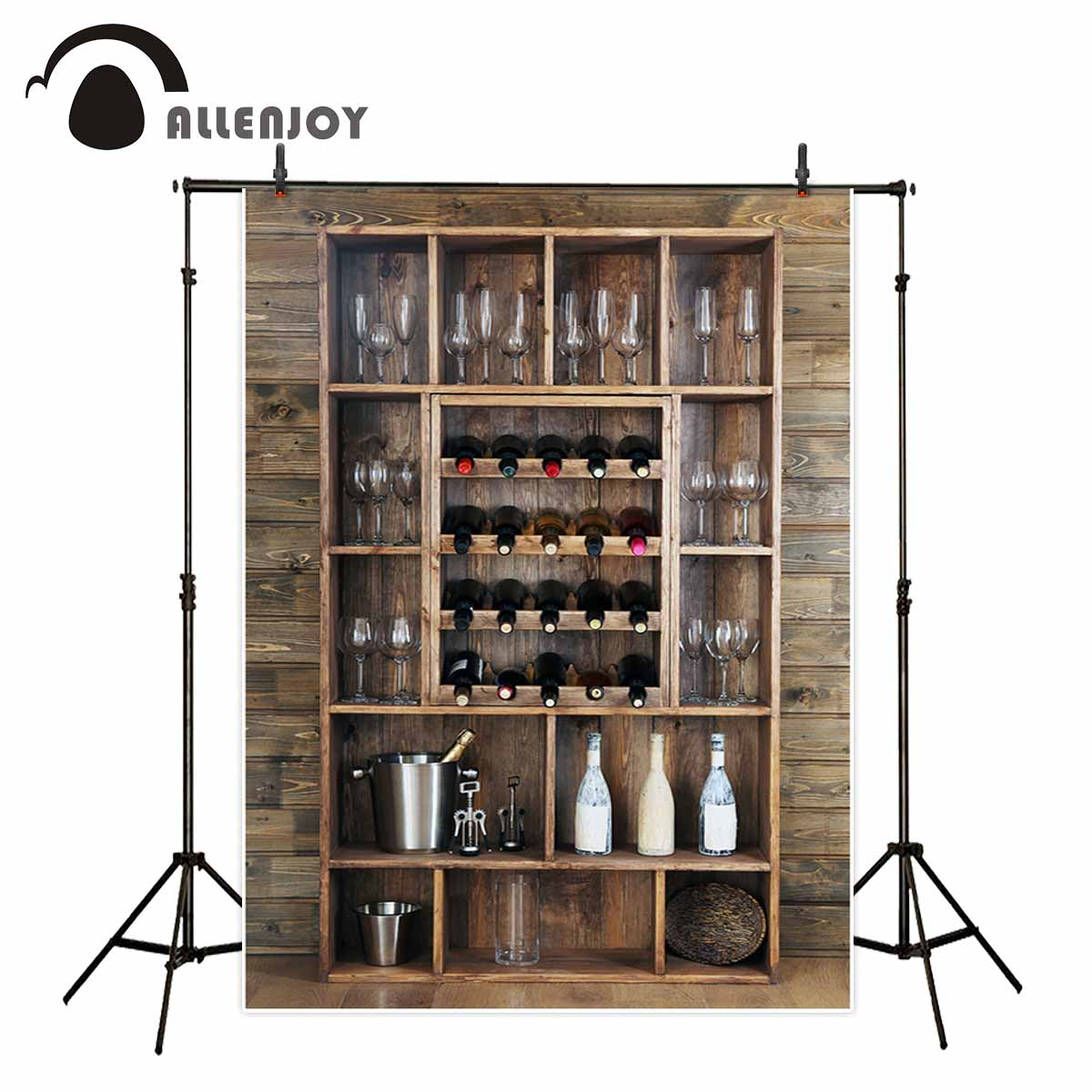 Allenjoy photography backdrops wine cabinet wine glasses wood board background for a photo shoot background vinyl