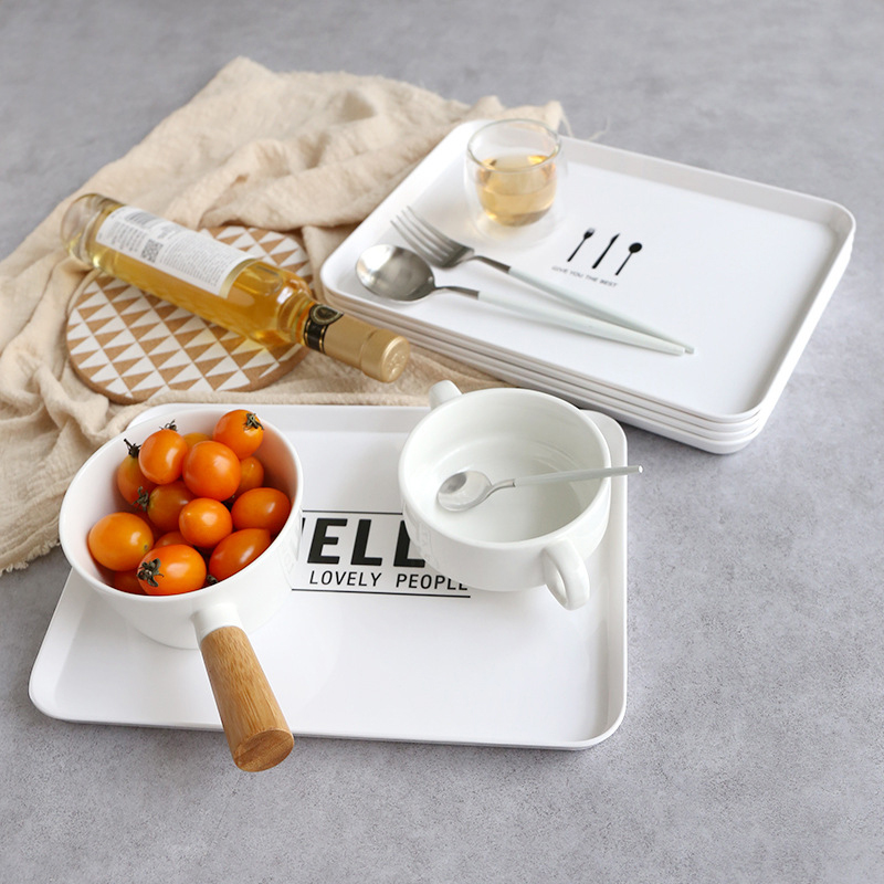 Plateau alimentaire assiette rectangulaire plat mélamine petit déjeuner nordique après-midi thé pâtisserie fruits service rapide assiette Dessert vaisselle 1 pièces