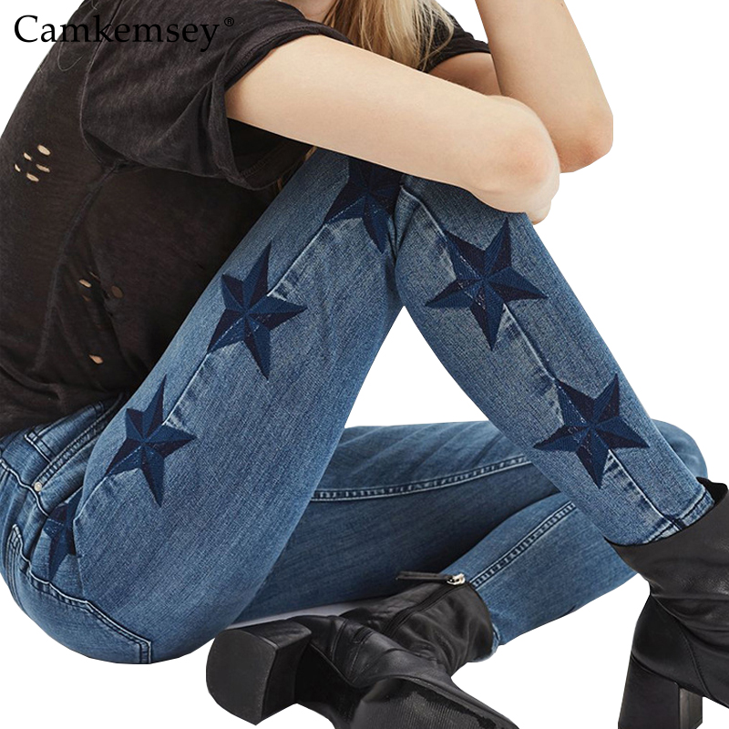 CamKemsey S-3XL Plus Size Star Embroidery High Waist   Jeans   Woman Stretch Skinny   Jeans   Female Slim Denim Pencil Pants Capris