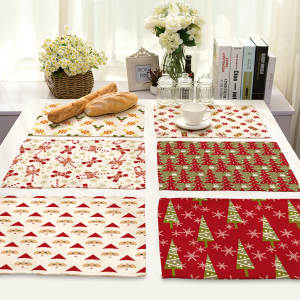 Christmas Table Mat Series Elk Table Placemats Cotton Linen Table Mats for Dining Table Nordic Style Kitchen Christmas Placemat