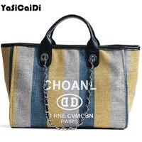 High Quality Canvas Women Handbags Large Colorful Female Shopper Shoulder Bags Long Chain Crossbody Bags For Women Sac A Main