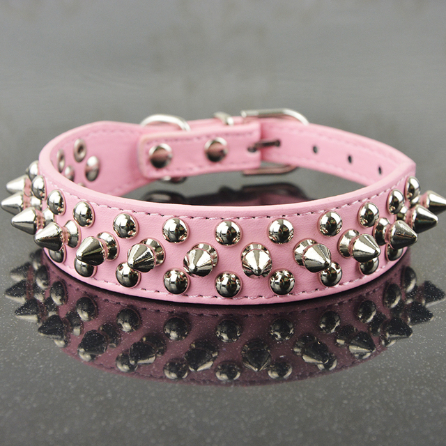 Fashion Pu Leather Studded Spiked Dog Collar