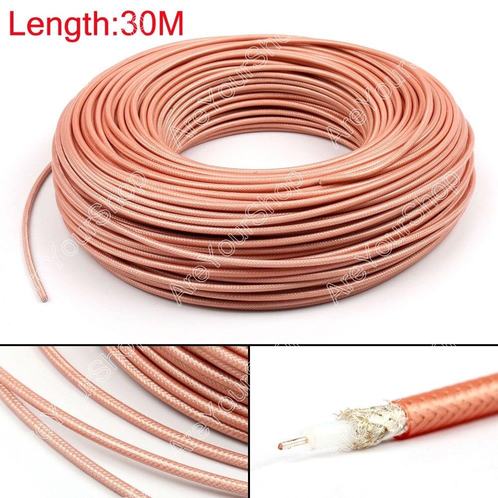 Areyourshop vente 3000cm RG142 RF connecteur de câble Coaxial 50ohm M17/60 RG-142 Coax Pigtail 98ft prise