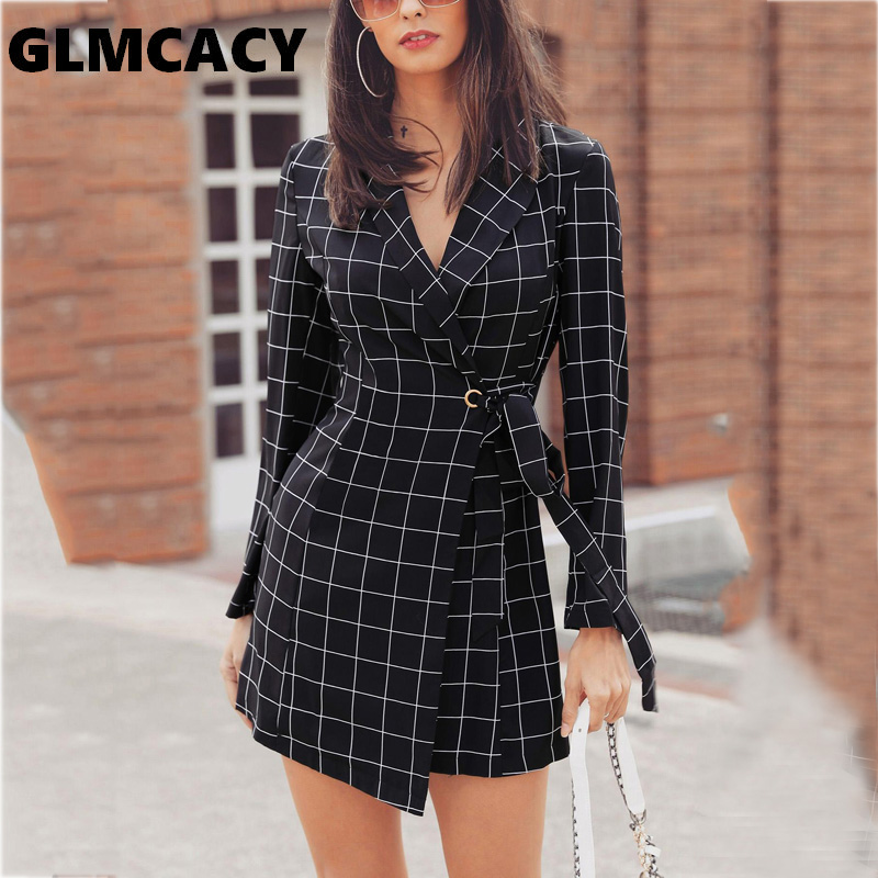 Women Grid Print Belted Blazer Dress A0299