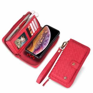 Image 5 - Многофункциональный тканый чехол кошелек с узором на молнии для Samsung Note 10 8 9 S8 S9 S10 Plus S10E для iPhone XS Max XR X 6 6S 7 8 Plus