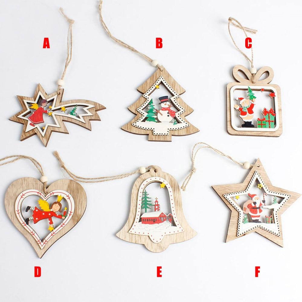 Christmas Tree Decoration Snowman Santa Bells Wooden