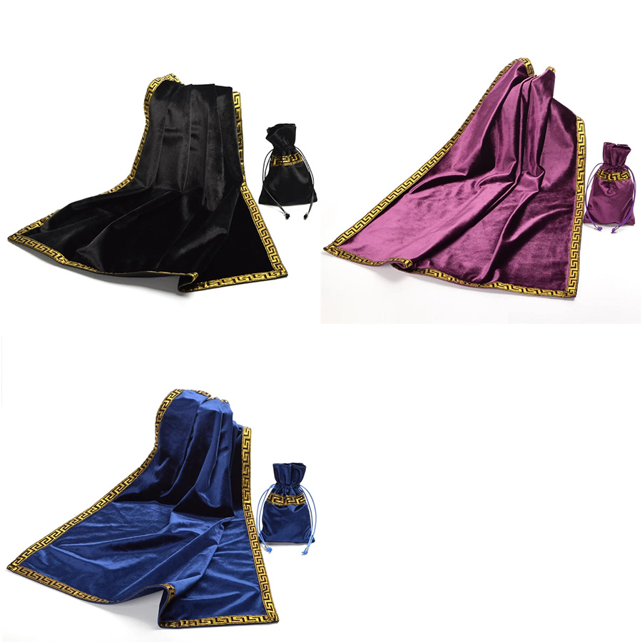 Tarot Tablecloth With Bags High Quality Flocking Fabric Tarot Board Game Accessories Altar Tarot Ceremony Tablecloth Golden Lace