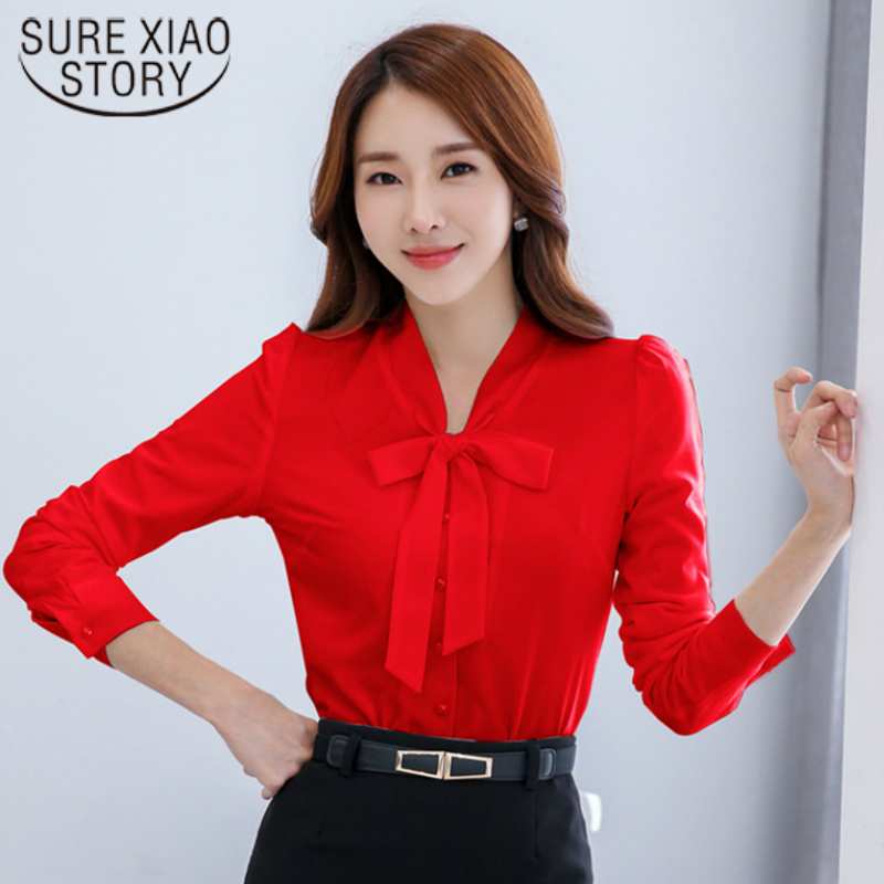 2017 New Women Tops Casual Style Spring of Bow Tie Chiffon Blouse Shirt Long Sleeved Collar Cardigan Shirt Lotus Leaf 952E 30