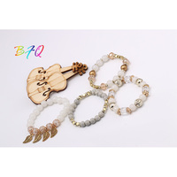 New Arrival Fashion Vintage Colorful Beaded Chakra Charm Bracelet With Gold Color Leaf Brown And