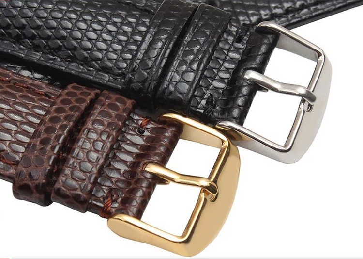 Новый чёрный; коричневый ремешок ящерицы grain18mm 20 мм 22 мм 24 мм Для мужчин часы браслет ремешок наручные часы Fit фирменная одежда, Бесплатная доставка