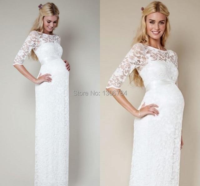 Кружевное длинное платье для беременных