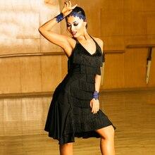 Черное платье для латинских танцев Женская Высококачественная бахрома для сальсы самба румба Одежда для танцев без рукавов с кисточками одежда для бальных танцев DC1049