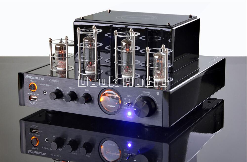 2016 NEW Nobsound MS-10D MKII Bluetooth Tube Integrated Amplifier HiFi Stereo Power Amp Home Audio USB Headphone 110~240V Black appj pa1501a mini stereo 6ad10 vintage vacuum tube amplifier desktop hifi home audio valve tube integrated power amp