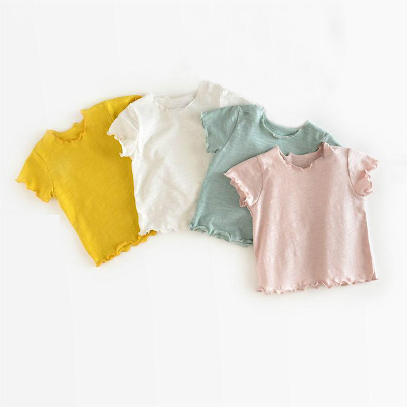 Newborn Baby T-shirts Solid Short Sleeves Spring Summer Korean Style Unisex Baby Girls Boy Tops Infant T Shirt 0-2Y Baby Clothes