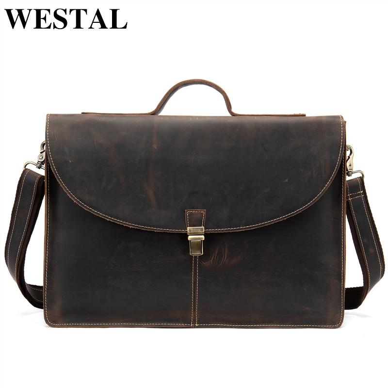 WESTAL 100 genuine leather male bussiness bag for man messenger bag men s shoulder bag leather