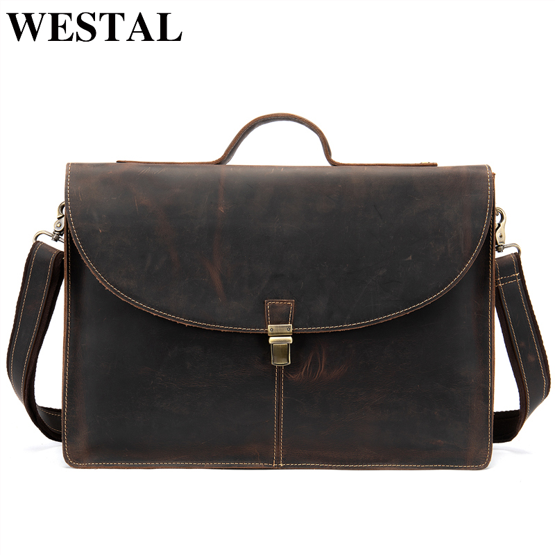 WESTAL 100% Genuine Leather Male Bussiness Bag For Man Messenger Bag Men's Shoulder Bag Leather Briefcase Handbags For Document