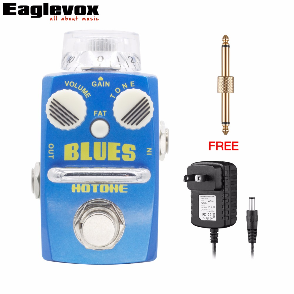 Hotone BLUES Overdrive Effect Pedal Electric Blues-Style Guitar Bass Effects True Bypass with Free Power Adapter and Connector mooer blade boost guitar effect pedal electric guitar effects true bypass with free connector and footswitch topper