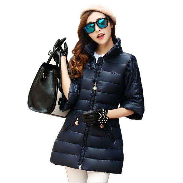 Outono inverno moda Coreano estande gola da jaqueta de algodão casaco longo trumpet mangas dos três quartos das mulheres wadded outerwear kl0484