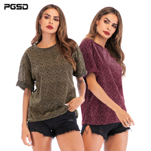 PGSD New Summer Simple Fashion women clothes Leopard-print bat sleeve O-Neck Loose casual T-shirt Bright silk Pullover female