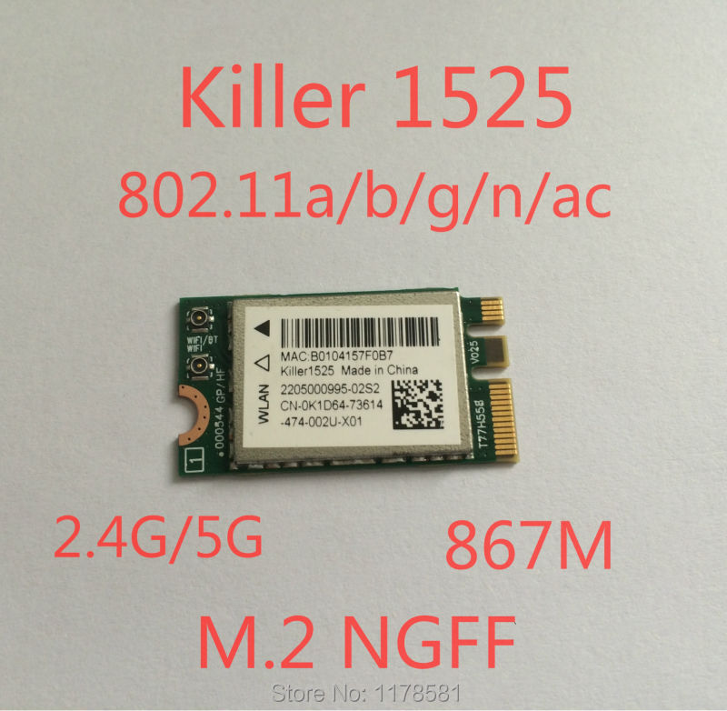 Bigfoot Killer Wireless-AC1525 killer1525 867M BT4.0 NGFF MSI GT72/GT80/GS60/GE62/GE72 P651SE/SG/P650S T5/T7 Wireless Card