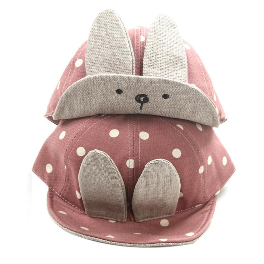 Spring Summer Autumn Cotton Baby Hat For Girls Boys Baby Beanie Hats for Children Girls Long Rabbit Ears Children Dots Baby Hats