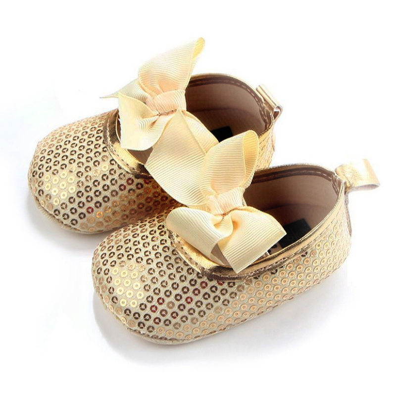 Baby Girls Bow Leather Soft Soled Non-slip Footwear Crib Soft Bottom Anti-slip Bow Frist Walkers Shoes