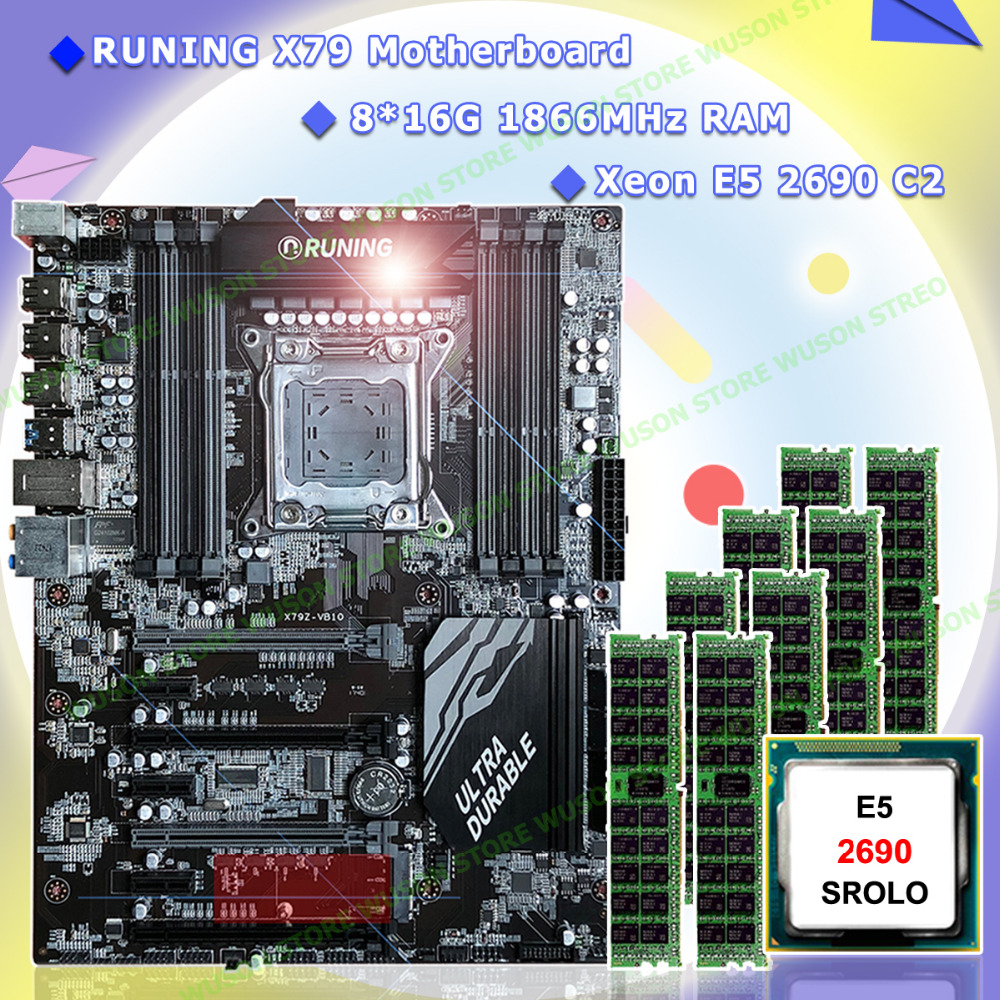 Motherboard on sale Runing Super X79 gaming motherboard bundle 8 DDR3 DIMM CPU Intel Xeon <font><b>E5</b></font> <font><b>2690</b></font> C2 2.9GHz RAM 128G(8*16G) RECC image