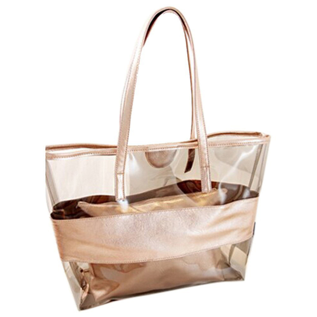 Waterproof Half Transpa Hand Bag Pvc Beach And Polyester With Small Champagne