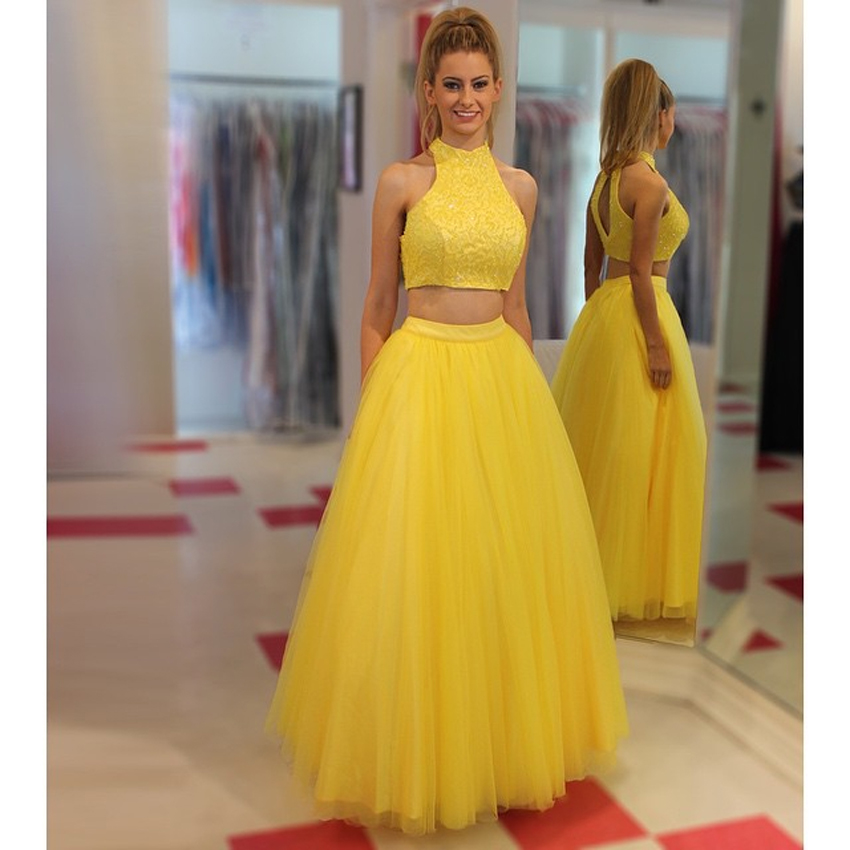 Popular Sexy Yellow Two Piece Prom Dresses-Buy Cheap Sexy Yellow ...