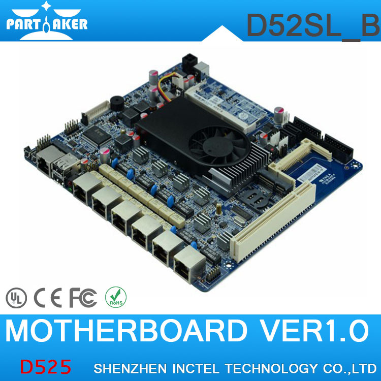 Small and medium size enterprise network security D525 firewall motherboard for 6 lan with Bypass