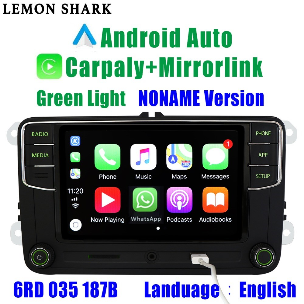 Green Android Auto Carplay <font><b>Noname</b></font> RCD330G <font><b>RCD330</b></font> Plus Green Button Car Radio 6RD 035 187B For Skoda Octavia Fabia Superb Yeti image