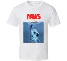 2017 Fashion funny casual Man Tops tees Paws Jaws Parody When Cats Attack Custom Design Funny Joke Kitten T Shirt 100% Cotton