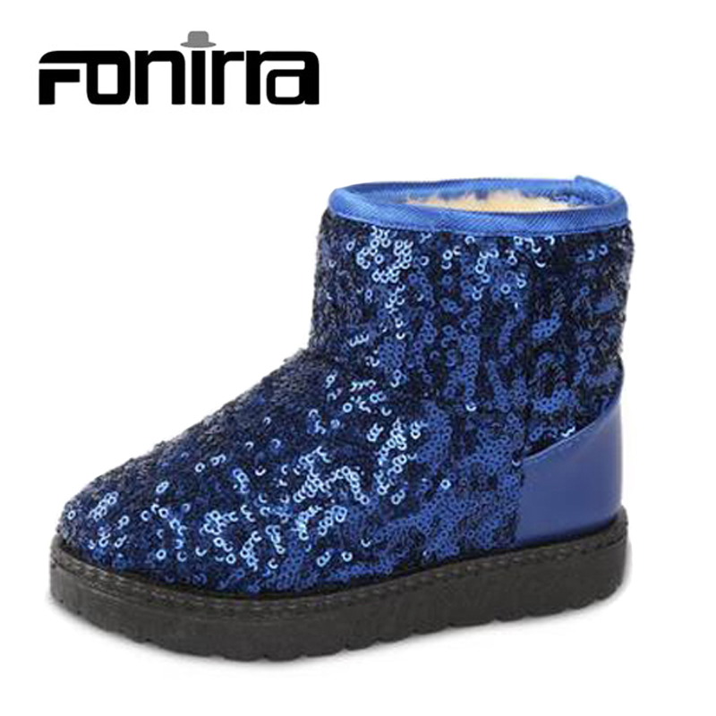 2017 Children Snow Boots Sequined Cloth Winter Girls Bling Paillette Winter Shoes Warming Girls Boys Flat Ankle Boots 142
