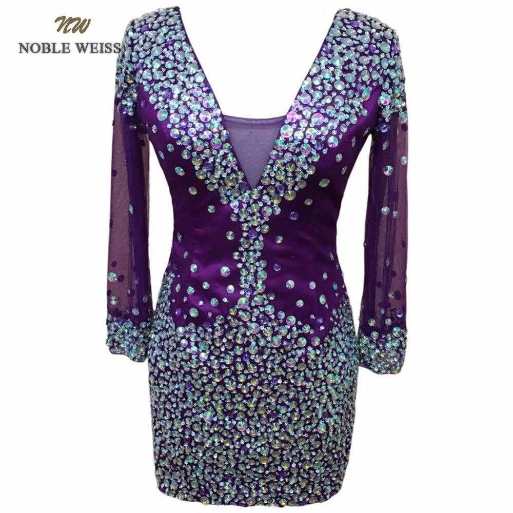 Noble Weiss Crystal formal Vestidos de baile con Piedras púrpura ...