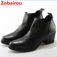 Italian Brands Black Pointed Toe Men Ankle Boots Spring Autumn Leather Botas Hombre Cowboy Military Boots Prom Dress Shoes