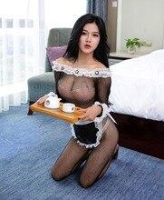 Plus größe bodystocking Maid Sexy Lolita Outfit Schwarz Spitze kleid für frauen Uniform versuchung kostüm porno Erwachsene Sex Spiel erotische