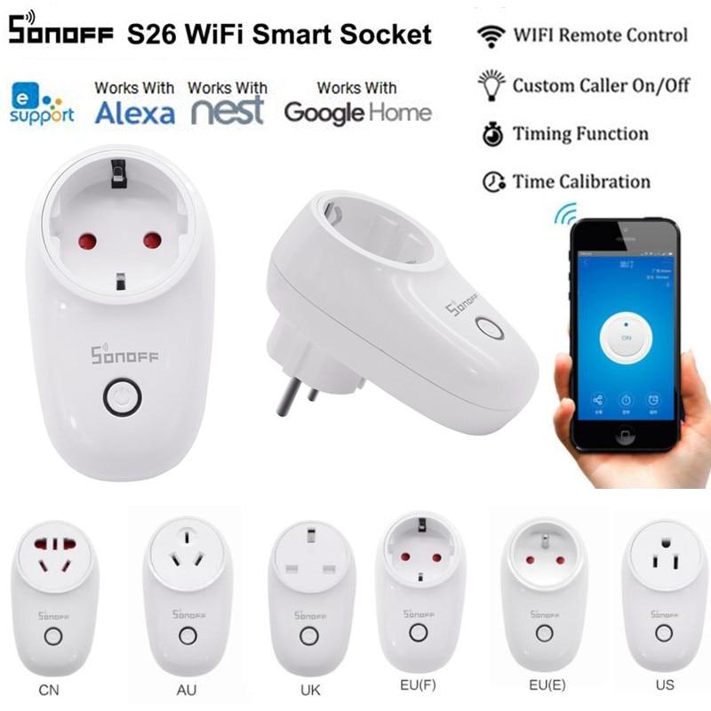 Sonoff S26 WiFi Smart Plug EU/US/UK/CN/AU Wireless Plug Power Sockets Smart Home Switch Work With Alexa Google Assistant IFTTT