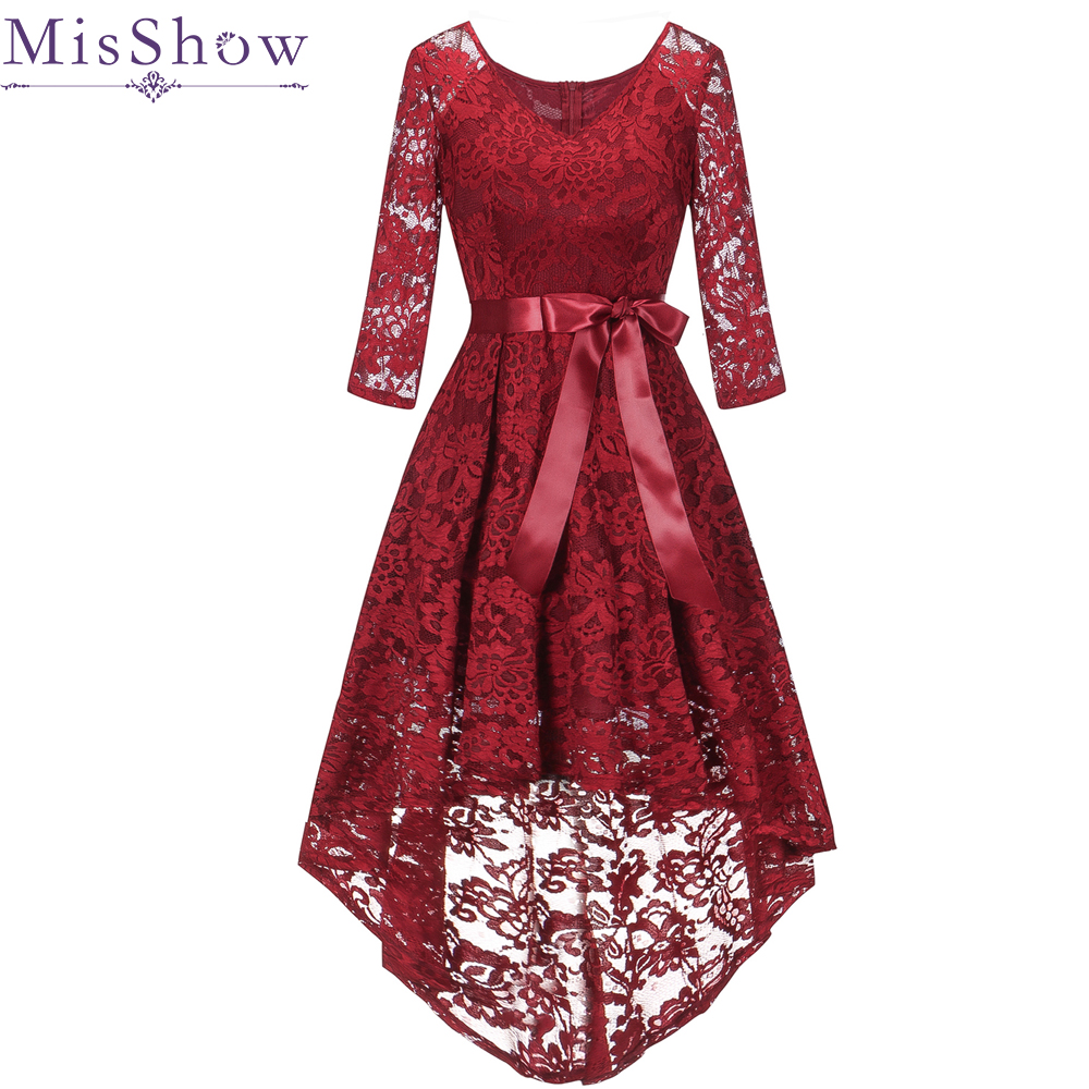 New Burgundy V Neck Lace Short   Evening     Dresses   2019 Long Back Short Front A-line Formal   Dress     Evening   Gown Party Robe De Soiree