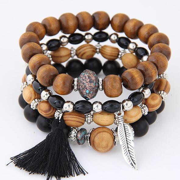 DIEZI 2018 New Bohemian Summber Gift Multilayer Wood Beads Tassel Leaves Charm Bracelets Bangles For Women Gift Pulseras Mujer