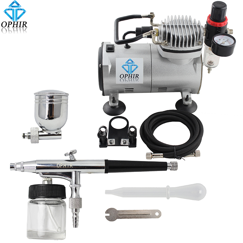 OPHIR Pro Dual-Action Airbrush Kit with Air Compressor Gravity Airbrush Paint Gun Set for Cake Decorating Car Paint_AC089+AC005 ophir pro 2x dual action airbrush kit with air tank compressor for tanning body paint temporary tattoo spray gun  ac090 004a 074
