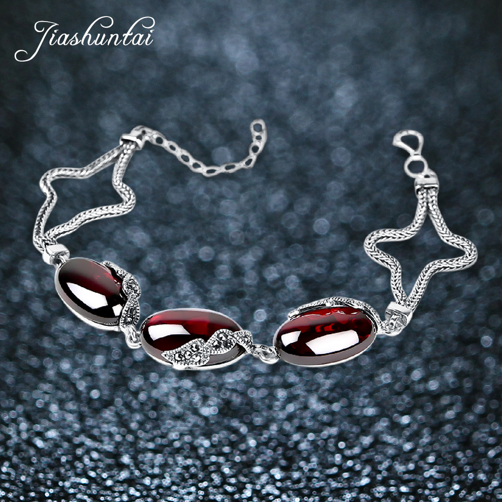 JIASHUNTAI Retro 925 Sterling Silver Bracelets For Women Vintage Silver Jewelry Female