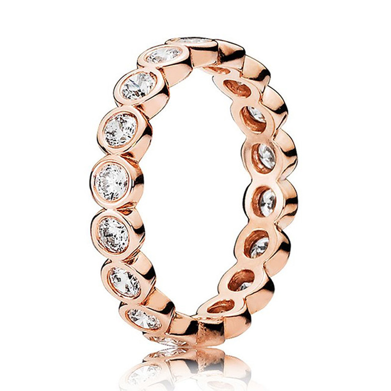 New 925 Sterling Silver Ring Rose Gold Alluring Petite Brilliant With Crystal Ring For Women Wedding Party Gift Pandora Jewelry